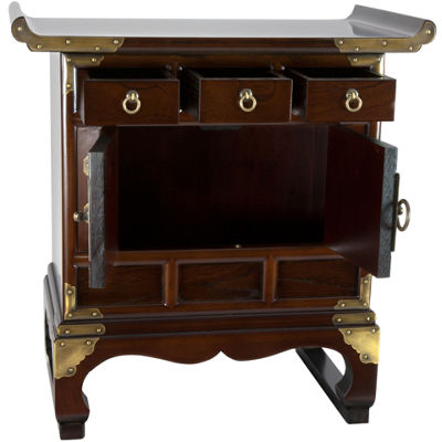 Oriental Furniture Korean Antique Style Accent Cabinet