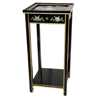 Oriental Furniture Black Mother Of Pearl Birds AndFlowers Oriental Chairside Table