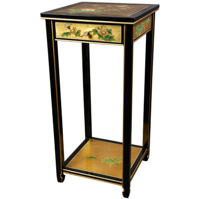 Oriental Furniture Gold Leaf Birds And Flowers Oriental Chairside Table