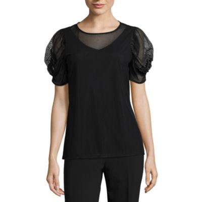 Worthington Short Sleeve Scoop Neck T-Shirt-Womens