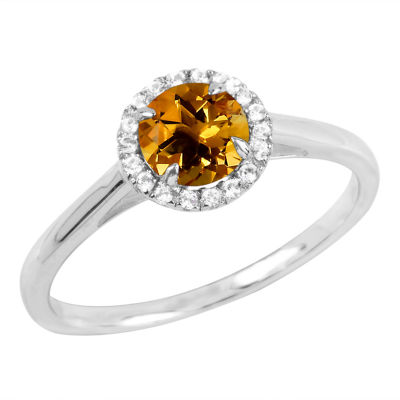 Womens Genuine Orange Citrine Sterling Silver Round Cocktail Ring