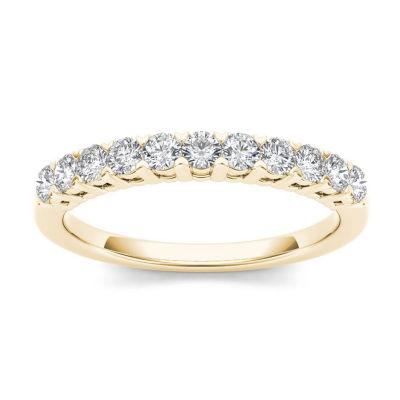 Womens 2 Mm 3/8 CT. T.W. Genuine White Diamond 10K Gold Wedding Band