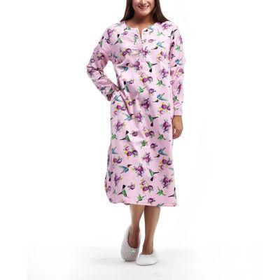 La Cera Plus Size Novelty Print Henley Flannel Nightshirt - Plus
