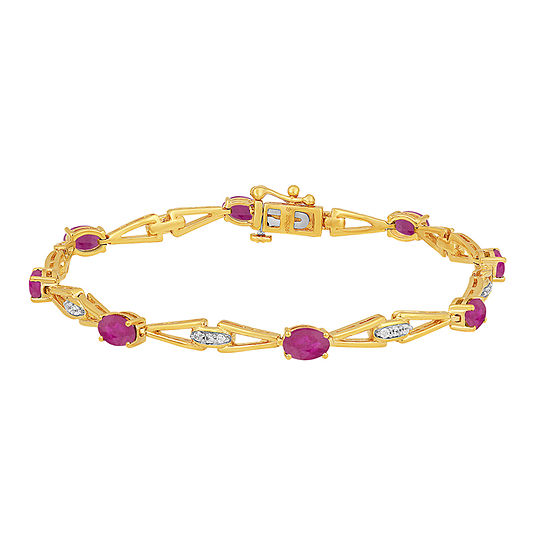 Lab Created Red Ruby 14k Gold Over Silver 75 Inch Tennis Bracelet