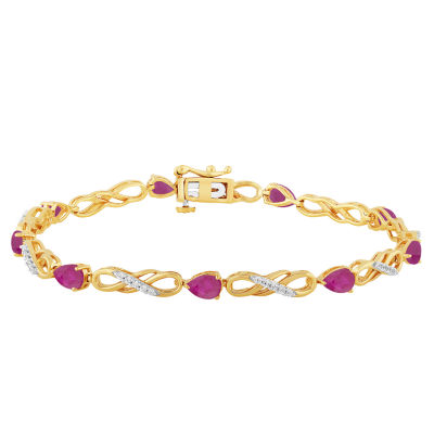 Lab Created Red Ruby 7.5 Inch Tennis Bracelet