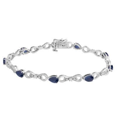Lab Created Blue Sapphire 7.5 Inch Tennis Bracelet