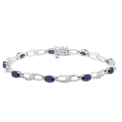 Lab Created Blue Sapphire Sterling Silver 7.5 Inch Tennis Bracelet