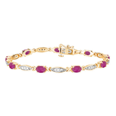Womens Red Ruby Gold Over Silver Tennis Bracelet