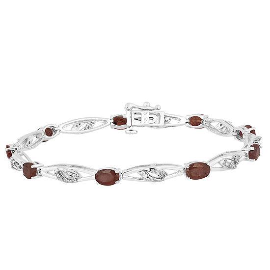 Genuine Red Garnet Sterling Silver 75 Inch Tennis Bracelet