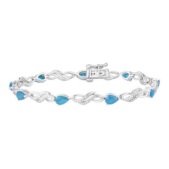 Genuine Blue Topaz Sterling Silver 75 Inch Tennis Bracelet