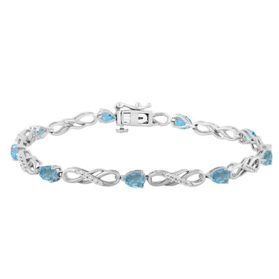 Genuine Blue Topaz Sterling Silver 7.5 Inch Tennis Bracelet.