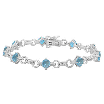 Genuine Blue Topaz Sterling Silver 7.5 Inch Tennis Bracelet