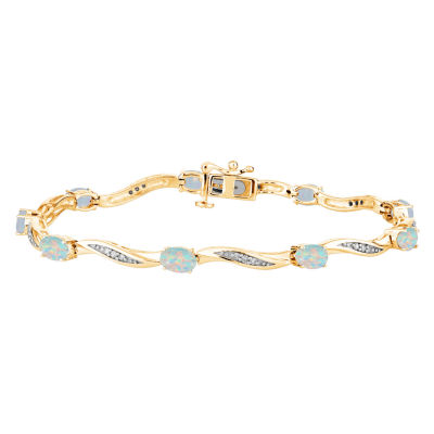 Lab Created White Opal 14K Gold Over Silver 7.5 Inch Tennis Bracelet.