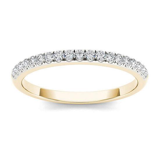 Womens 2 Mm 1 5 Ct T W Genuine White Diamond 10k Gold Wedding Band