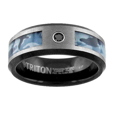 Unisex 8mm Diamond Accent Genuine Black Diamond Tungsten Round Wedding Band