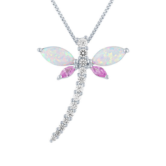 Womens Lab Created White Opal Sterling Silver Butterfly Pendant Necklace