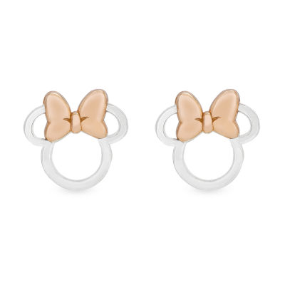 Disney 14K Rose Gold Over Silver Sterling Silver 10.3mm Minnie Mouse Stud Earrings