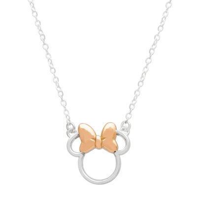 Disney Womens 14K Gold Over Silver 14K Rose Gold Over Silver Minnie Mouse Pendant Necklace