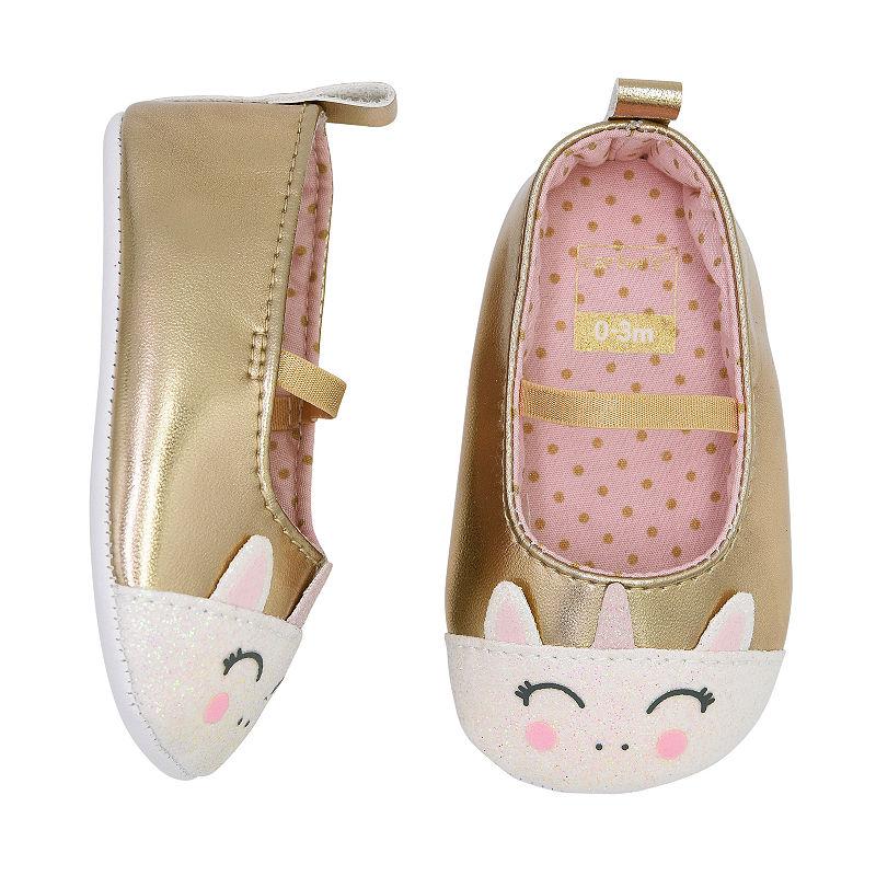 Carters Gold Unicorn Mary Jane Slip-On Shoes – Baby Girl