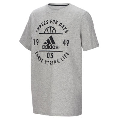 adidas Short Sleeve Crew Neck T-Shirt-Big Kid Boys