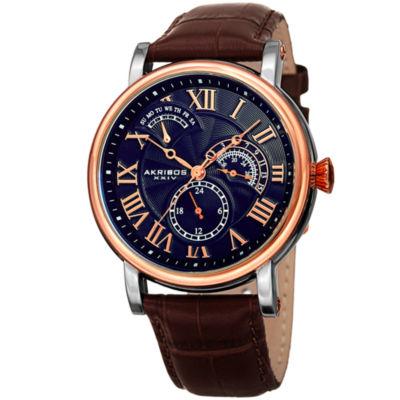 Akribos XXIV Mens Brown Strap Watch-A-1003rgbu