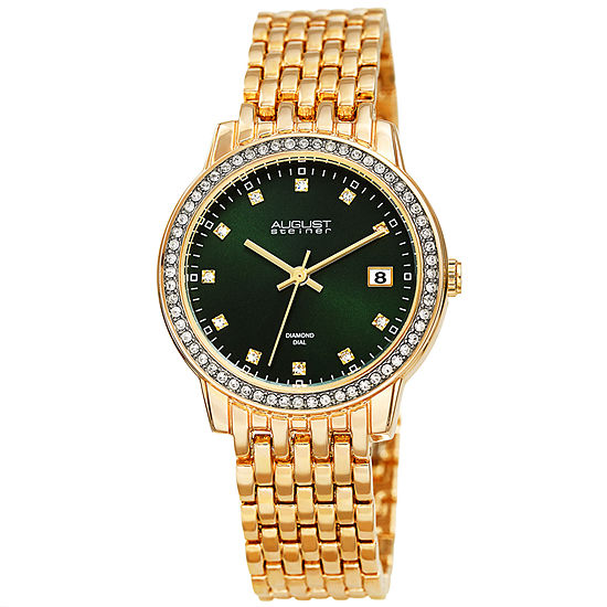 August Steiner Womens Diamond Accent Gold Tone Bracelet Watch-As-8262gn