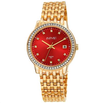 August Steiner Womens Gold Tone Strap Watch-As-8262rd