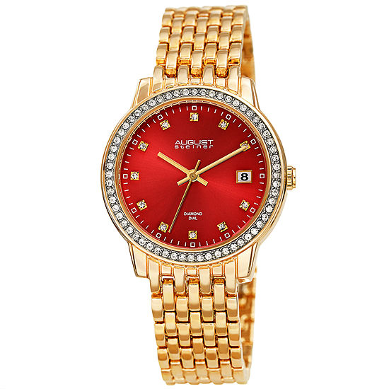 August Steiner Womens Diamond Accent Gold Tone Bracelet Watch-As-8262rd