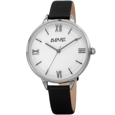 August Steiner Womens Black Strap Watch-As-8263bk
