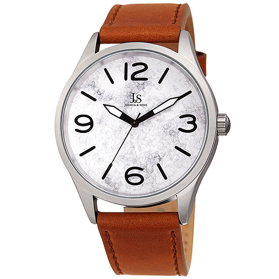 Joshua & Sons Mens Brown Leather Strap Watch-J-144tn