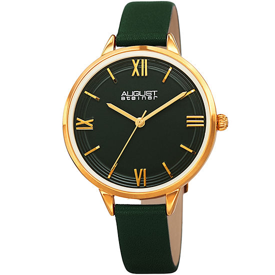 August Steiner Womens Green Leather Strap Watch-As-8263gn