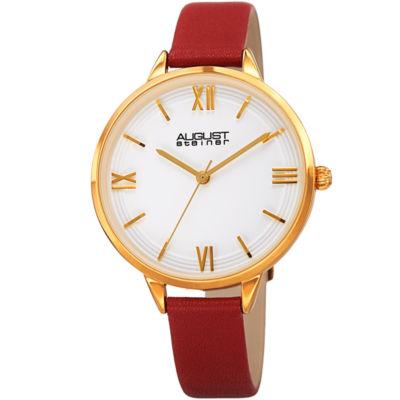 August Steiner Womens Red Strap Watch-As-8263rd