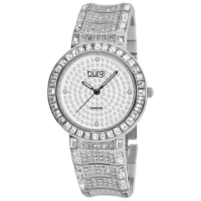 Burgi Womens Silver Tone Strap Watch-B-060ss