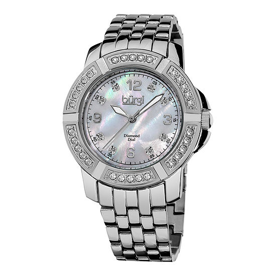 Burgi Womens Diamond Accent Silver Tone Stainless Steel Bracelet Watch-B-069ss