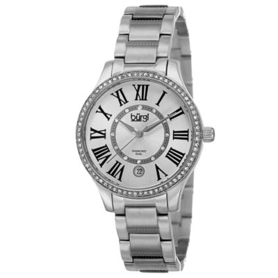 Burgi Womens Silver Tone Strap Watch-B-090ss