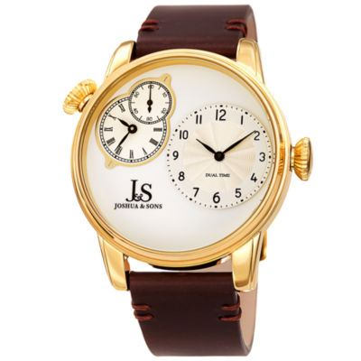 Joshua & Sons Mens Brown Strap Watch-J-142ygbr