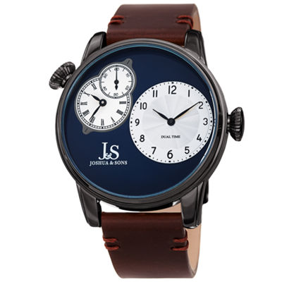Joshua & Sons Mens Brown Strap Watch-J-142gnbr