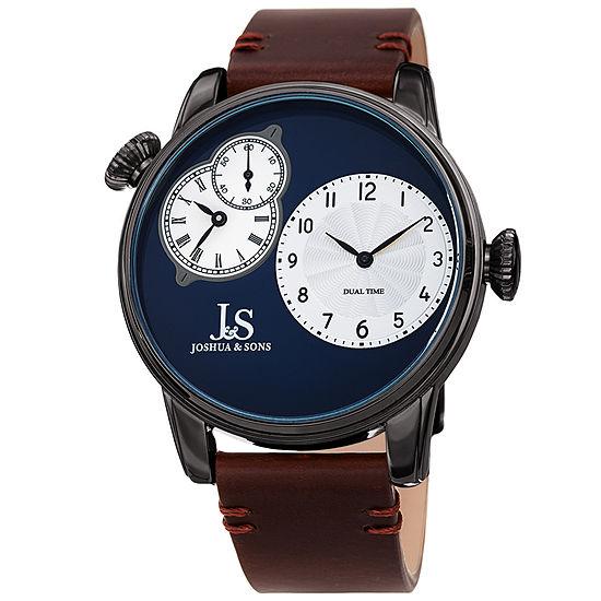 Joshua & Sons Mens Brown Leather Strap Watch-J-142gnbr