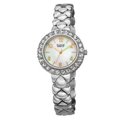 Burgi Womens Silver Tone Bracelet Watch-B-113ss