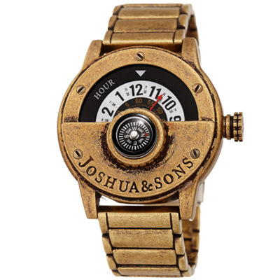 Joshua & Sons Mens Gold Tone Strap Watch-J-139yg