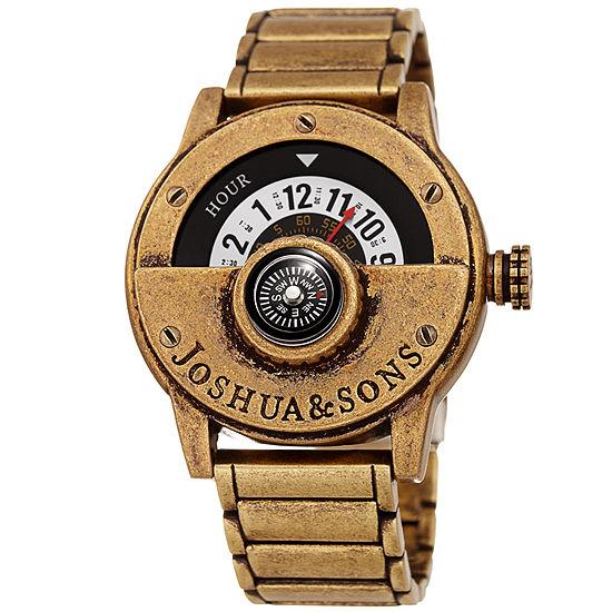 Joshua & Sons Mens Gold Tone Strap Watch-J-139yg