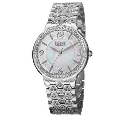 Burgi Womens Silver Tone Bracelet Watch-B-115ss