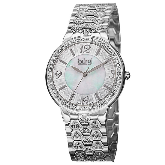 Burgi Womens Crystal Accent Silver Tone Bracelet Watch-B-115ss