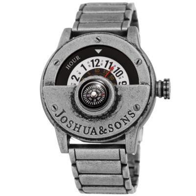 Joshua & Sons Mens Silver Tone Strap Watch-J-139ss