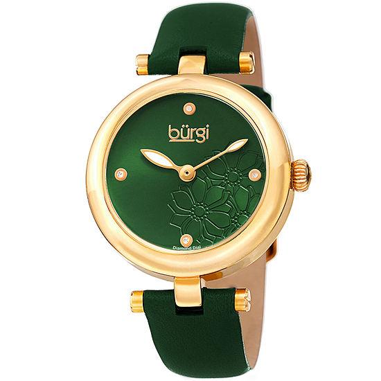 Burgi Womens Green Strap Watch B 197gn