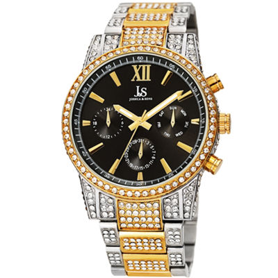 Joshua & Sons Mens Two Tone Strap Watch-J-138ygb
