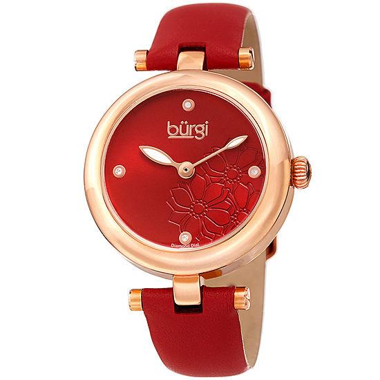 Burgi Womens Red Strap Watch-B-197rd