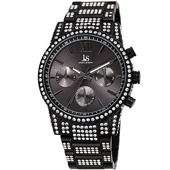 Joshua & Sons Mens Multi-Function Black Stainless Steel Bracelet Watch-J-138bk