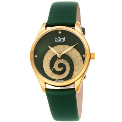 Burgi Womens Green Strap Watch-B-201gn
