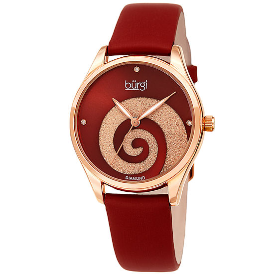 Burgi Womens Diamond Accent Red Leather Strap Watch-B-201rgr